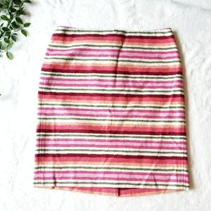 Talbots | 8 | Rainbow Striped Linen Pencil Skirt